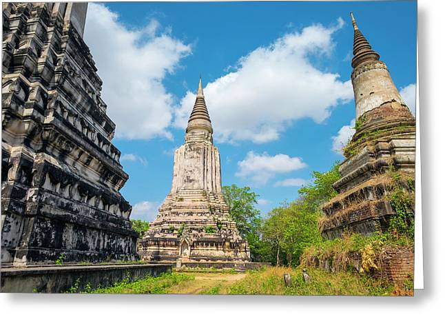 Stupas At Phnom Oudong, Kandal Greeting Card