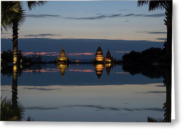 Stupas Illuminated At Night Greeting Card