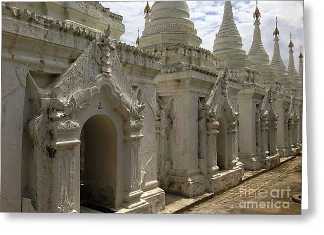 Greeting Card featuring the photograph Stupas With Buddhist Inscription Slabs Sandamuni Pagoda Mandalay Burma by Ralph A  Ledergerber-Photography