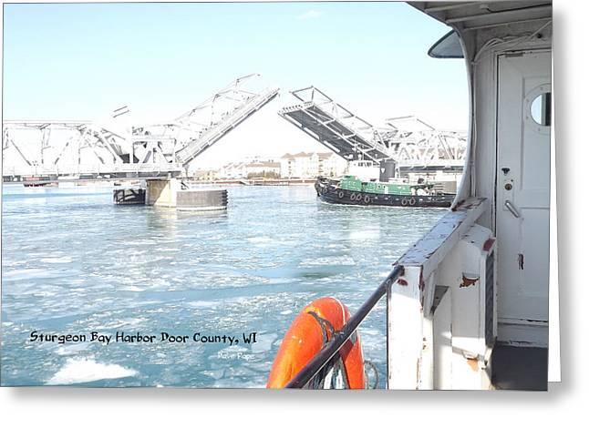 Sturgeon Bay's Working Harbor Greeting Card by Dave Pape