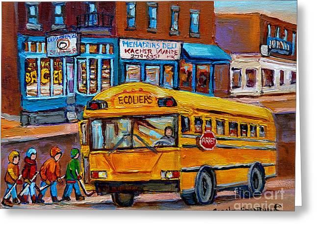 St.viateur Bagel And School Bus Montreal Urban City Scene Greeting Card by Carole Spandau