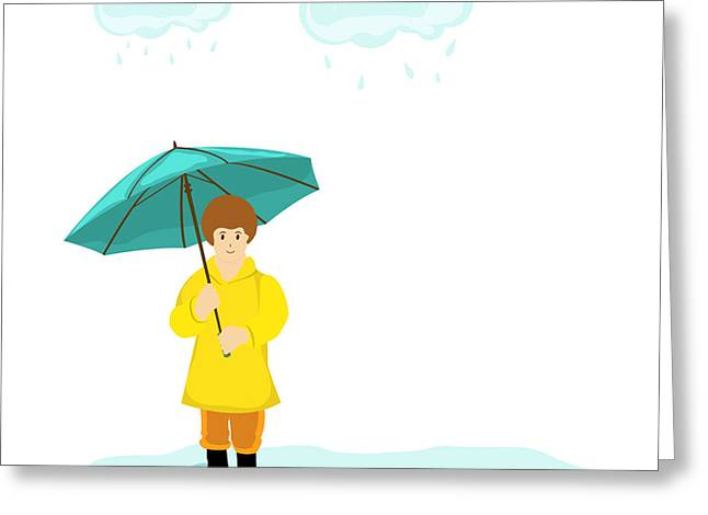Stylish Girl Holding Green Umbrella On Greeting Card