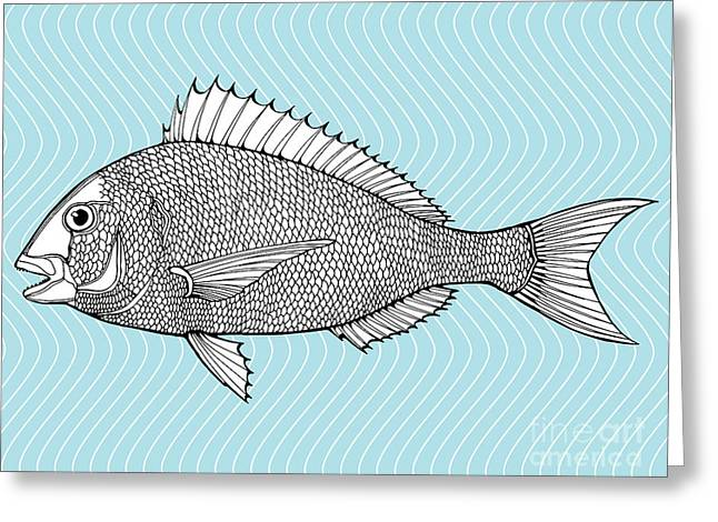 Stylized Fish. Sea Fish. Dorado. Black Greeting Card