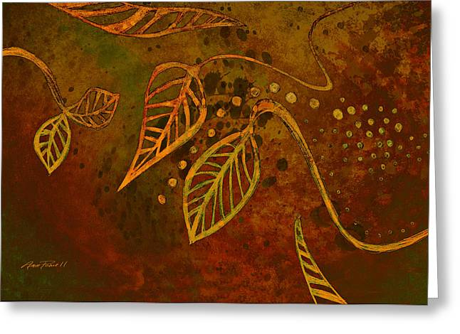 Stylized Leaves Abstract Art  Greeting Card by Ann Powell