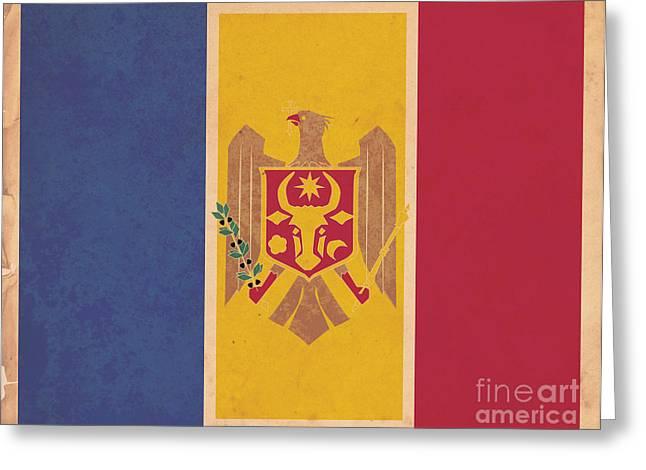 Stylized Moldovan Flag  Greeting Card by Megan C