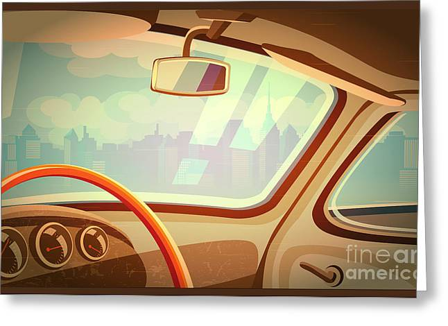 Stylized Retro Interior Vector Greeting Card