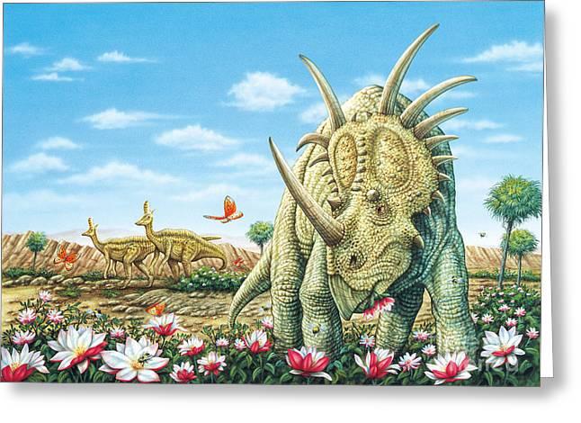 Styracosaurus Eating Magnolias With Lambeosaurus Greeting Card by Phil Wilson