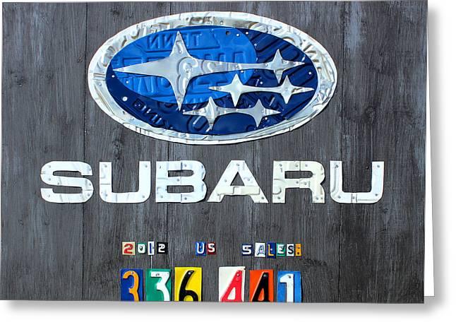 Subaru Logo Art Celebrating 2012 Usa Sales Totals Greeting Card