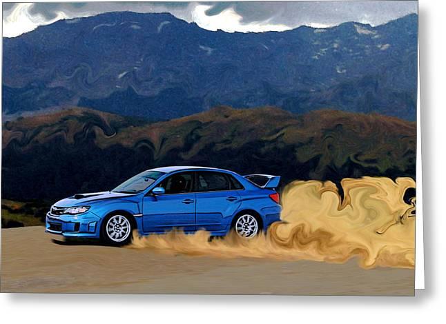 Subaru Wrx Sti Drifting In The Dirt Greeting Card by Erin Hissong