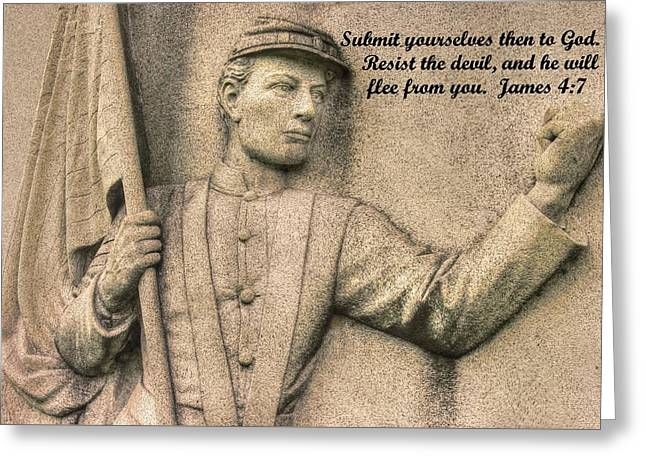 Submit Yourselves Then To God - Resist The Devil And He Will Flee From You - James 4.7 Greeting Card by Michael Mazaika