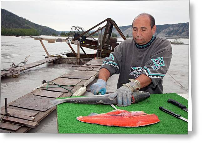 Subsistence Fishing In Alaska Greeting Card by Jim West