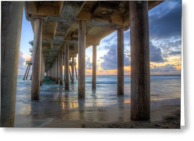Subtle Pier Sunset Greeting Card