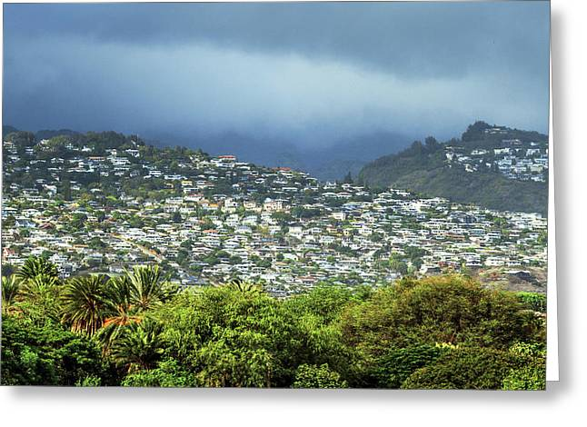 Suburb Of Honolulu Greeting Card by Babak Tafreshi