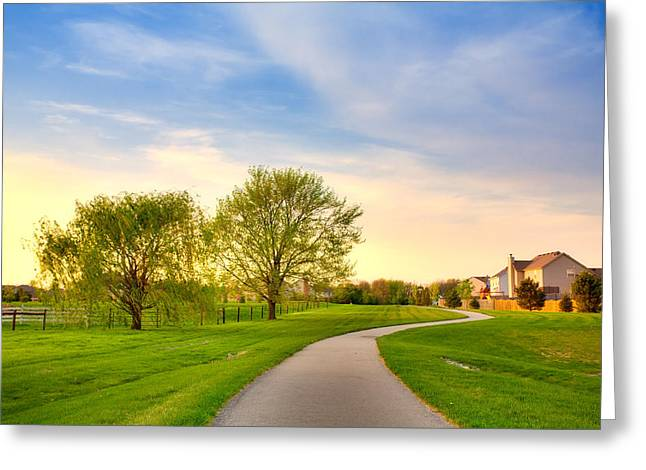 Suburban Evening Greeting Card by Alexey Stiop
