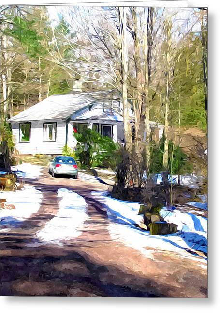 Suburban Home Covered With Snow Greeting Card by Lanjee Chee