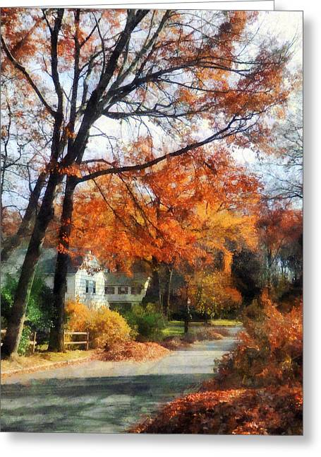 Suburban Street In Autumn Greeting Card by Susan Savad