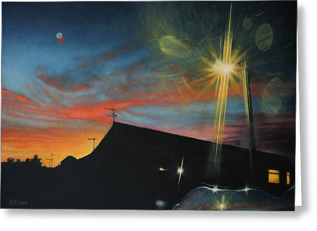 Suburban Sunset Oil On Canvas Greeting Card
