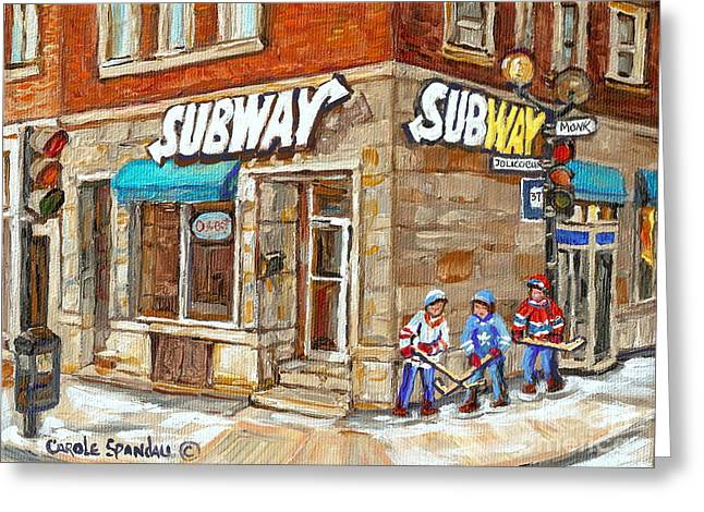 Subway Restaurant Monk Avenue Verdun Montreal Art Winter Hockey Scenes Paintings Carole Spandau Greeting Card