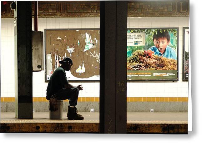 Subway Sitter Greeting Card by Mieczyslaw Rudek