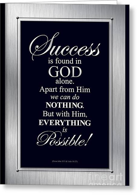 Greeting Card featuring the digital art Success Is Found In God by Shevon Johnson