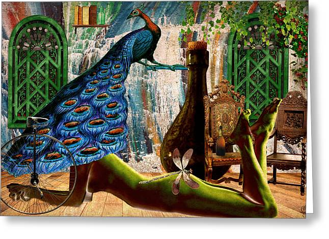 Greeting Card featuring the painting Suck My Peacock by Ally  White