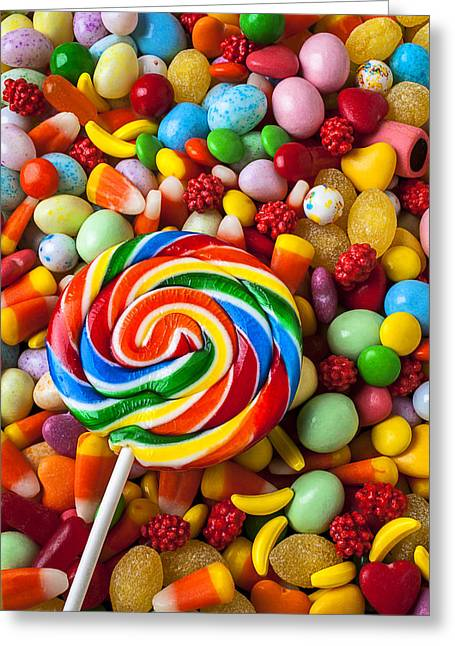 Sucker With Pile Of Candy Greeting Card by Garry Gay