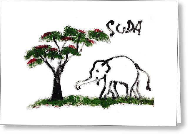 Prints - Elephant Paintings - Just Me Greeting Card by Phongsri Smeaton