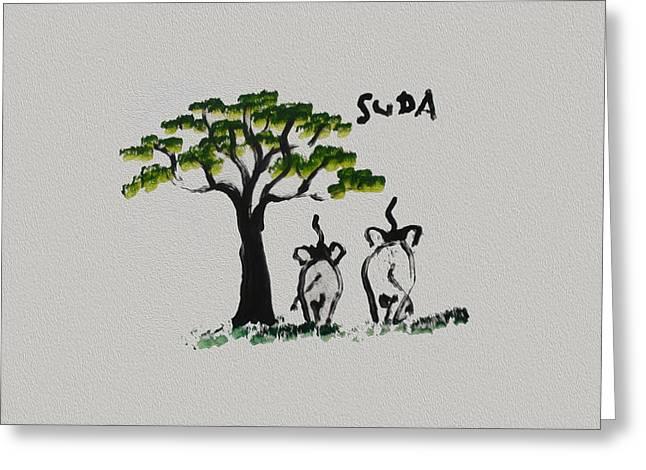 Suda Grey Canvas  Greeting Card