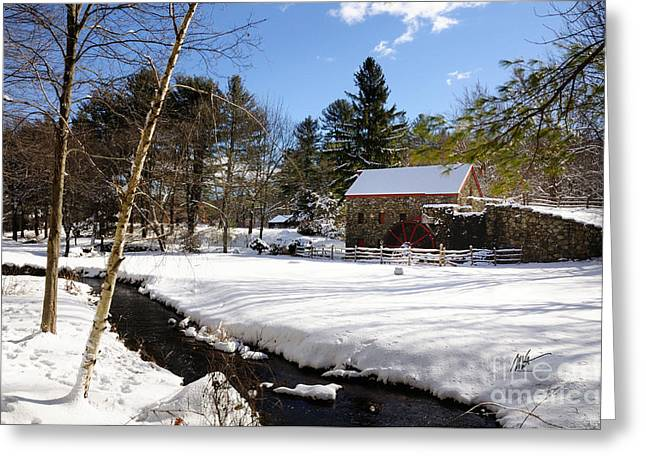 Sudbury - Grist Mill Winter Creek Greeting Card by Mark Valentine