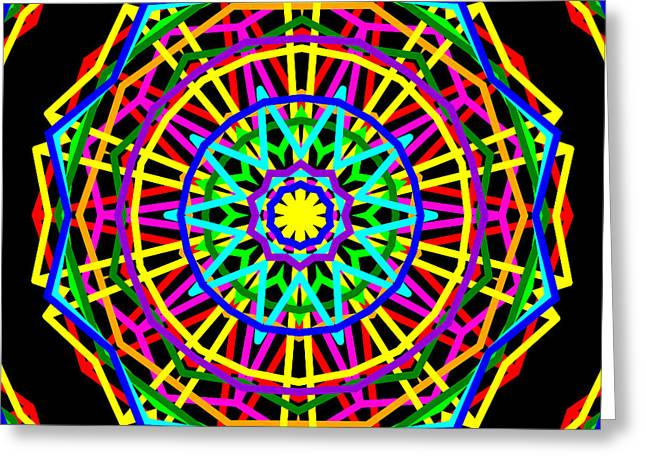 Sudoku Connections Kaleidoscope Greeting Card by Ron Brown