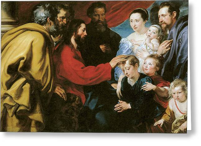 Suffer The Little Children To Come Unto Me Greeting Card by Anthony Van Dyke