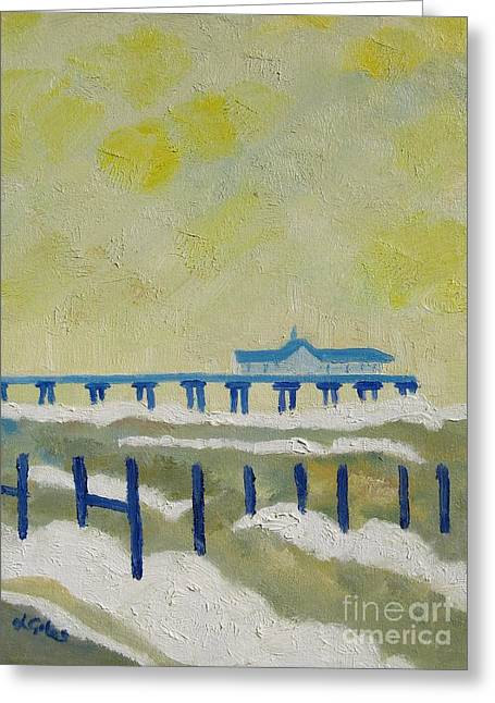 Suffolk Southwold Pier Greeting Card by Lesley Giles