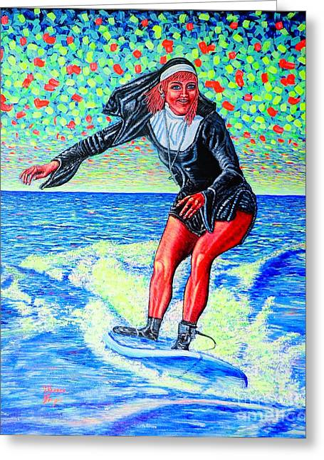 Surfing Nun /god-is Love ...love-is Life/ Greeting Card