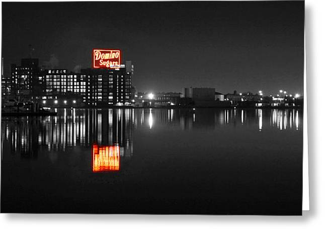 Sugar Glow - Classic Iconic Domino Sugars Neon Sign, Inner Harbor Baltimore, Maryland - Color Splash Greeting Card