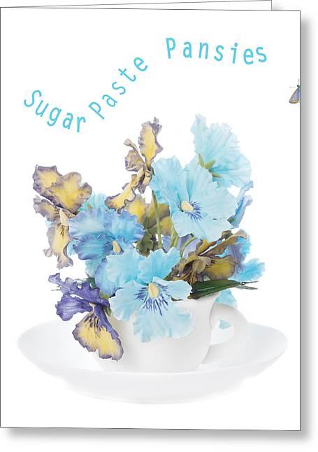 Sugar Paste Pansies Greeting Card