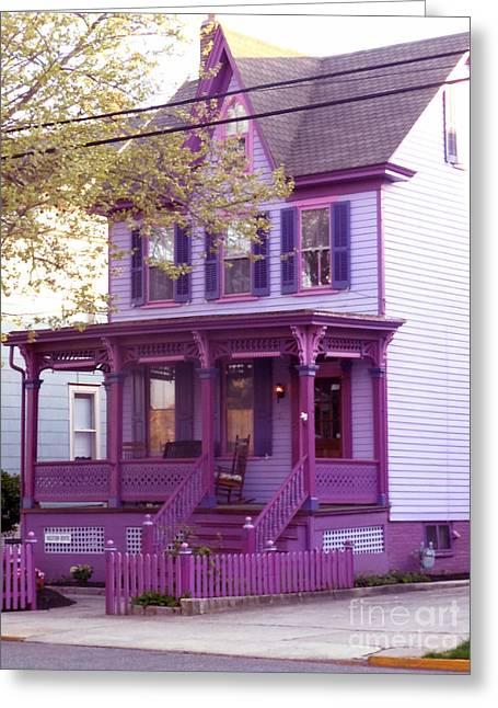 Sugar Plum Purple Victorian Home Greeting Card by Kristie Hubler