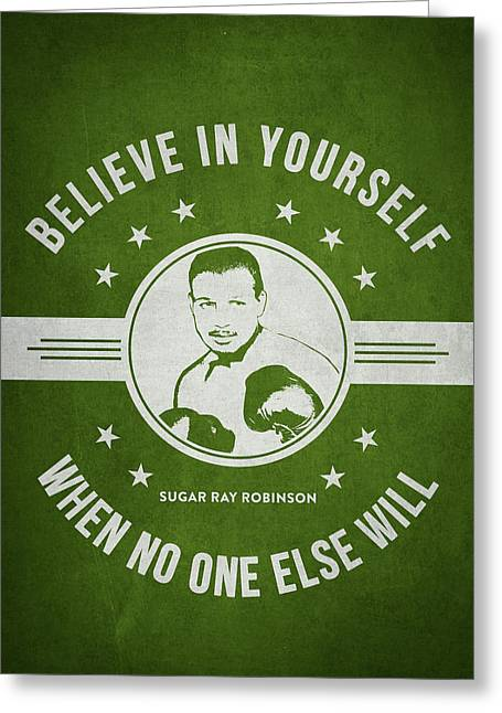 Sugar Ray Robinson - Green Greeting Card
