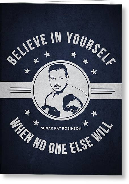 Sugar Ray Robinson - Navy Blue Greeting Card