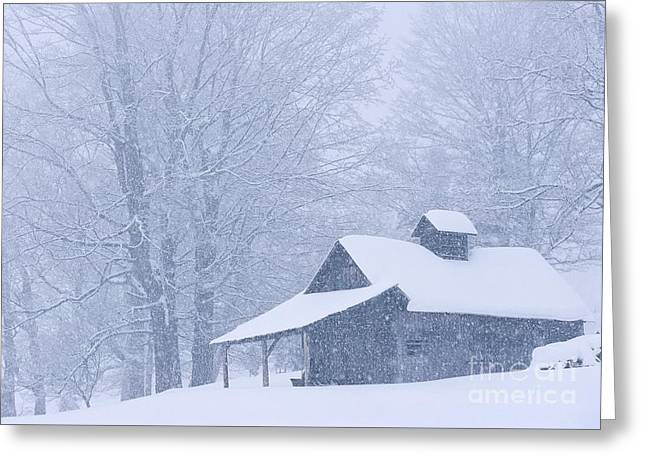 Greeting Card featuring the photograph Sugarhouse Snowfall by Alan L Graham