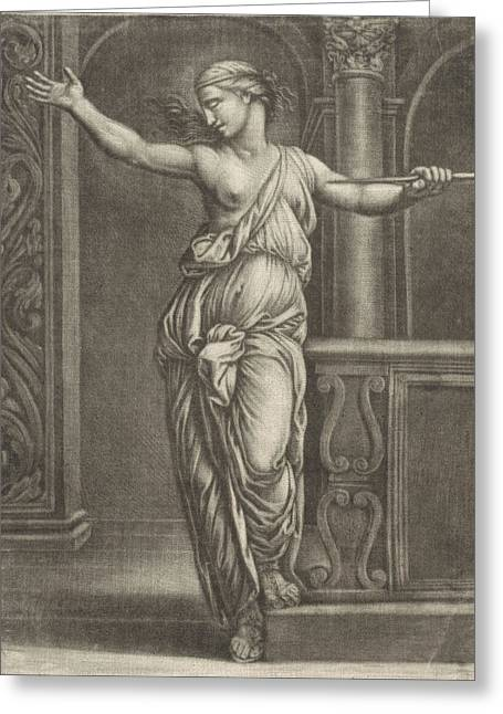 Suicide Of Lucretia, Jan Van Somer, Rafal Greeting Card by Jan Van Somer And Rafa?l And Marcantonio Raimondi