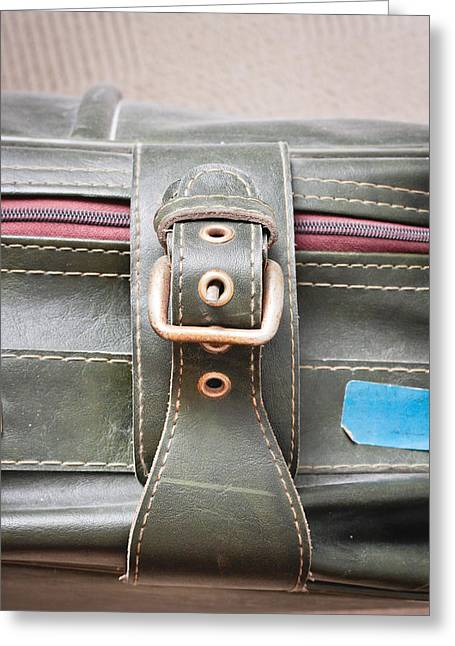 Suitcase Buckle Greeting Card by Tom Gowanlock