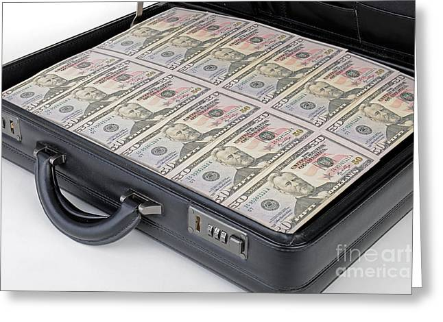 Suitcase Full Of Money Greeting Card by Ingo Schulz