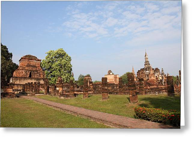 Sukhothai Historical Park - Sukhothai Thailand - 011344 Greeting Card by DC Photographer