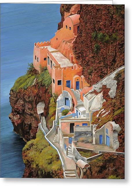 sul mare Greco Greeting Card by Guido Borelli