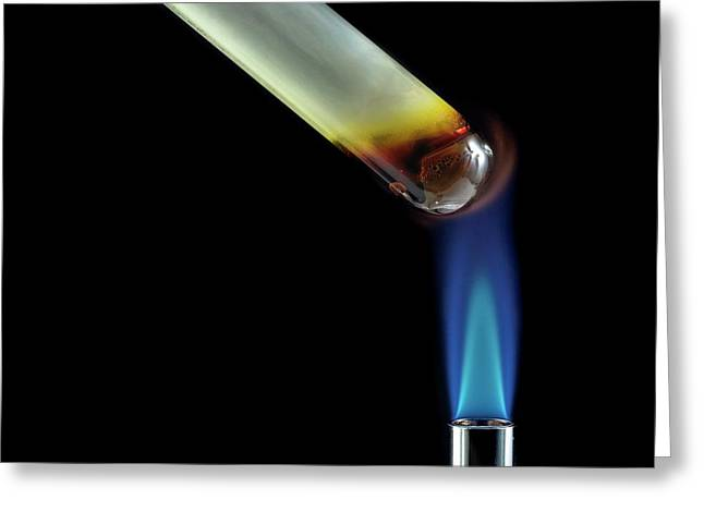 Sulphur Being Heated Greeting Card by Science Photo Library