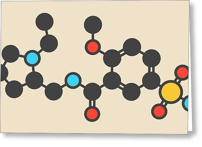 Sulpiride Antipsychotic Drug Molecule Greeting Card