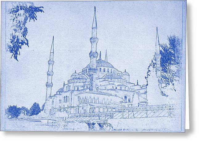 Sultan Ahmed Mosque Istanbul Blueprint Greeting Card by Kaleidoscopik Photography