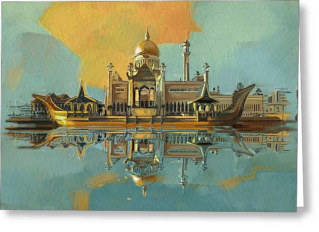 Sultan Omar Ali Saifuddin Mosque Greeting Card by Corporate Art Task Force
