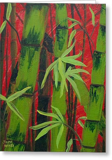 Sultry Bamboo Forest Acrylic Painting Greeting Card