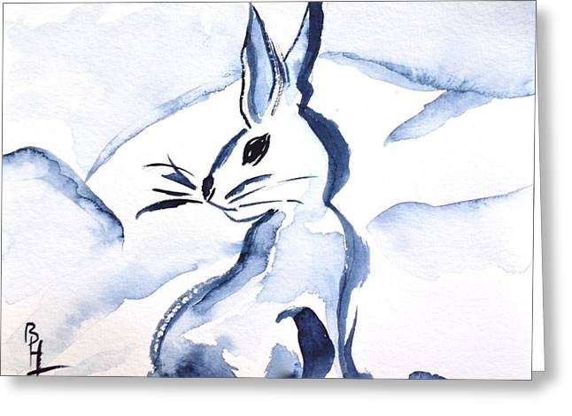 Sumi-e Snow Bunny Greeting Card by Beverley Harper Tinsley